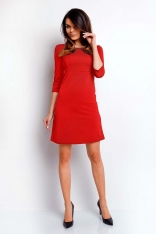 Czerwona Wizytowa Sukienka Trapezowa z Rękawem za Łokieć