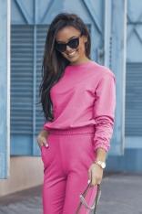 Dresowy Komplet Nierozpinana Bluza i Dopasowane Spodnie - Fuksja