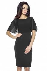 Czarna Ołówkowa Sukienka z Szyfonowym Rękawkiem