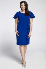 Niebieska Elegancka Sukienka ze Zwiewnym Rękawem PLUS SIZE