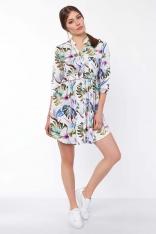 Krótka Koszulowa Sukienka w Deseń z Liści