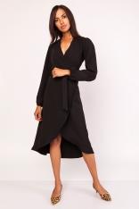 Czarna Asymetryczna Sukienka Kopertowa z Wiązanym Paskiem