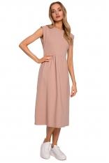 Bawełniana Midi Sukienka z Podwyższonym Stanem - Mocca