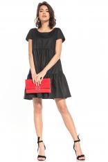 Bawełniana Mini Sukienka z Owalnym Dekoltem - Czarna