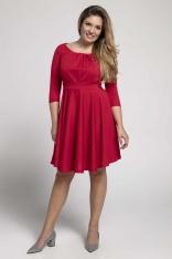 Czerwona Rozkloszowana Sukienka z Zaznaczoną Talią PLUS SIZE