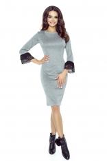 Szara Sukienka Ołówkowa z Koronkowymi Falbankami przy Rękawach