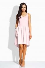 Różowa Kobieca Sukienka na Szerokich Ramiączkach
