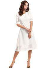 Ecru Wizytowa Sukienka Midi z Szyfonowymi Wstawkami