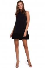 Czarna Trapezowa Sukienka z Tiulowym Mankietem na Dole