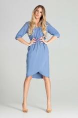 Sukienka Midi z Kopertowym Dołem - Niebieska