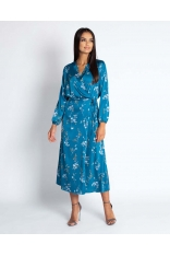 Niebieska Kopertowa Sukienka Midi z Florystycznym Motywem