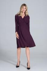Sukienka z Kopertowym Dekoltem z Prążkowanej Dzianiny - Fioletowa