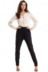 Czarne Spodnie z Zakładką i Troczkami