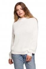 Ciepły Sweter z Krótkim Golfem - Ecru