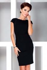 Czarna Sukienka Elegancka Ołówkowa z Półrękawkiem