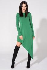 Zielona Sukienka Asymetryczna Dzianinowa z Długim Rękawem