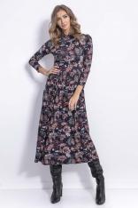 Granatowa Sukienka z Florystycznym Printem z Półgolfem