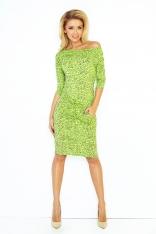 Jasno Zielona Sukienka Ściągana w Pasie Wzór Pamiętnik