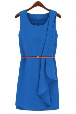 Niebieska Stylowa Sukienka Mini z Paskiem bez Rękawów