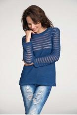 Niebieski Sweter z Transparentnymi Paskami