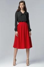 Czerwona Modna Rozkloszowana Spódnica Midi