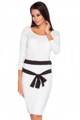 Biało-czarna Ołówkowa Spódnica z Kontrastowym Wiązanym Paskiem