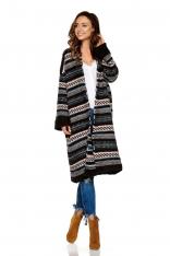 Czarny Ciepły Wzorzysty Sweter Oversize bez Zapięcia