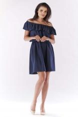 Granatowa Sukienka ze Zmysłowym Dekoltem Carmen