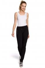 Czarne Spodnie z Elastyczną Talią