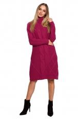 Swetrowa Sukienka z Golfem w Warkocze - Różowa