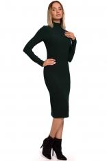 Ołówkowa Sukienka z Półgolfem - Zielona