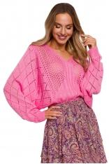Ażurowy Sweter z Nietoperzowym Rękawem - Różowy