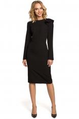 Czarna Sukienka Elegancka Ołówkowa z Falbankami na Ramieniu