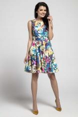 Kwiatowa Rozkloszowana Sukienka bez Rękawów z Ozdobnym Paskiem