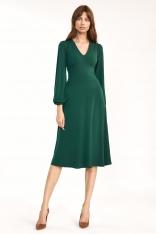 Zielona Elegancka Midi Sukienka z Bufiastym Rękawem