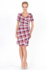 Sukienka w Kratę z Głębokim Dekoltem Wzór 1