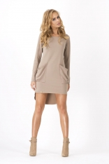 Cappuccino Dresowa Asymetryczna Sukienka z dużymi kieszeniami