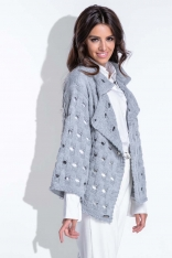 Szary Sweter-Narzutka z Ażurowym Wzorem