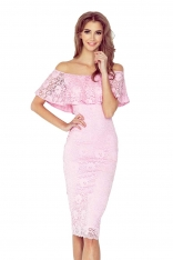Różowa Koronkowa Sukienka Hiszpanka