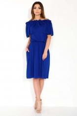 Chabrowa Sukienka Midi z Hiszpańskim Dekoltem