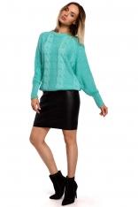 Sweter w Warkocze ze Ściągaczami - Seledynowy