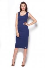 Granatwoa Bawełniana Sukienka Midi bez Rękawów
