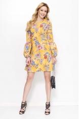 Żółta Sukienka Trapezowa w Kwiaty z Bufiastym Rękawem