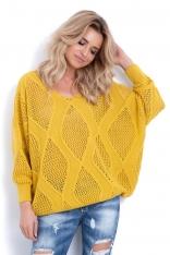 Żółty Ażurowy Sweter z Dekoltem V z Przodu i na Plecach
