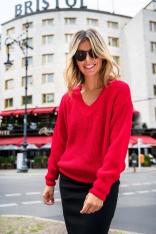 Klasyczny Sweter z Dekoltem w Szpic - Pomarańczowy