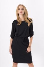 Czarna Kobieca Sukienka Midi z Podpinanym Rękawem z Paskiem