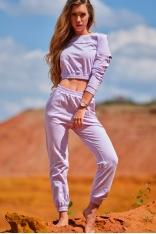 Klasyczne Dresowe Spodnie na Gumie - Purpurowe