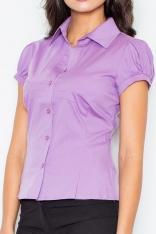 Fioletowa Elegancka Koszula z Krótkim Rękawem