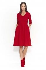 Czerwona Dresowa Sukienka z Szerokim Dołem