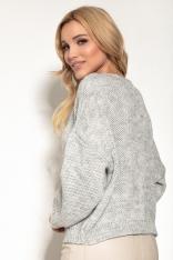 Sweter z Okrągłym Dekoltem w Casualowym Stylu - Szary
